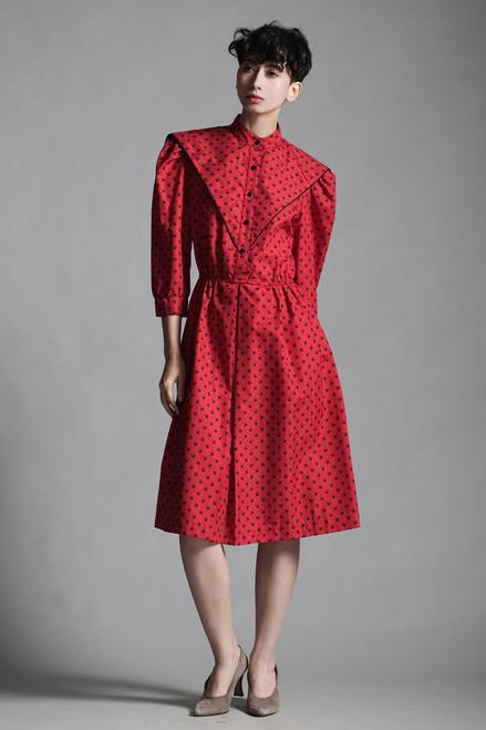 vintage 80s red secretary shirt dress black polka dot print half sleeves sailor collar MEDIUM LARGE M L