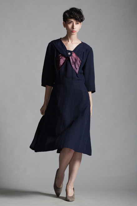 vintage 40s 1940s dress navy blue bow rhinestones half sleeves midi EXTRA LARGE XL