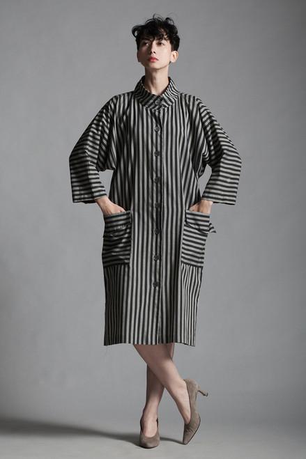 vintage 80s origami pocket dress black gray stripes cotton oversize architectural LARGE L