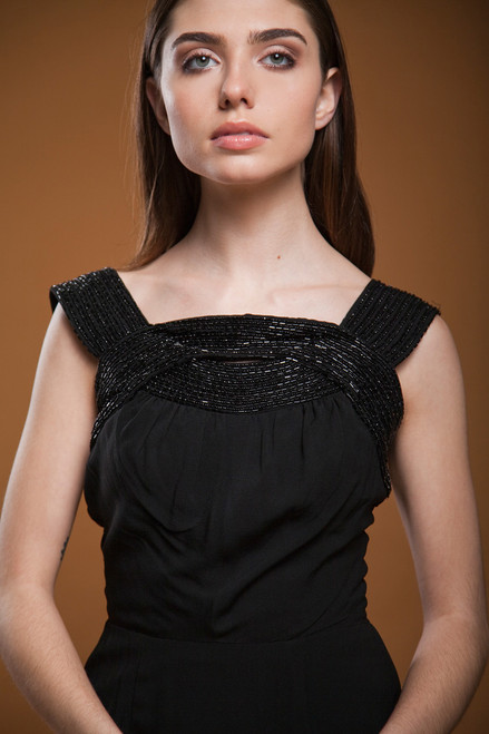 vintage 60s 1960s LBD little black dress beaded crepe party cocktail SMALL S