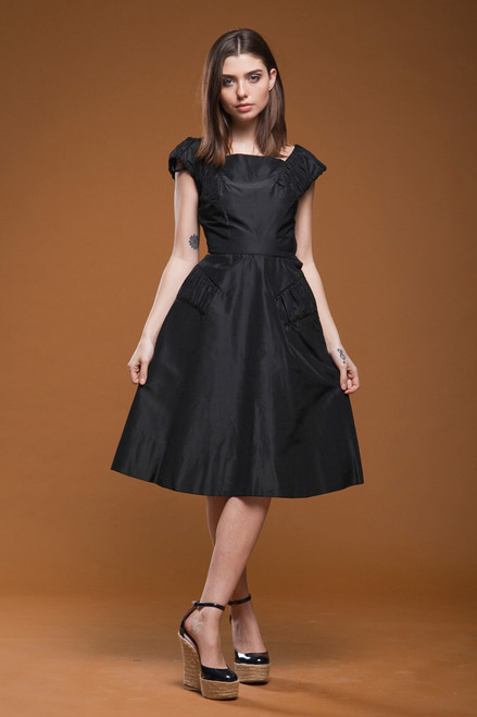 vintage 50s 1950s party dress cocktail black taffeta full skirt sleeveless gathered EXTRA SMALL - SMALL XS S