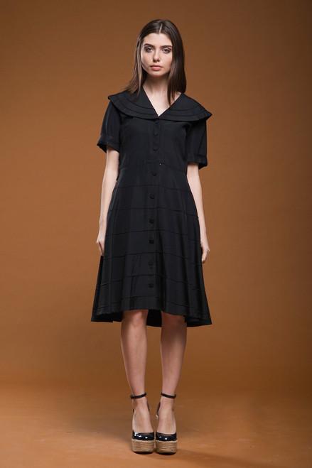 vintage 40s 50s black faille shirt dress wide sailor collar pintuck short sleeves LARGE L