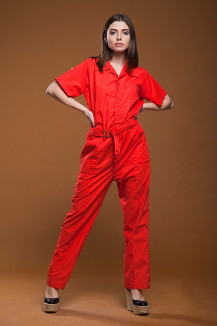 vintage 80s red cotton utility jumpsuit belted zip front overalls coveralls mechanic suit LARGE - EXTRA LARGE L XL