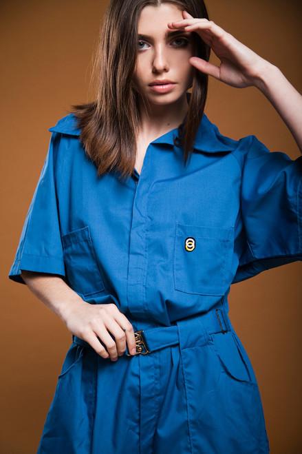 plus size vintage 80s utility jumpsuit muted blue cotton raglan coveralls overalls mechanic suit XL 1X 2X EXTRA LARGE