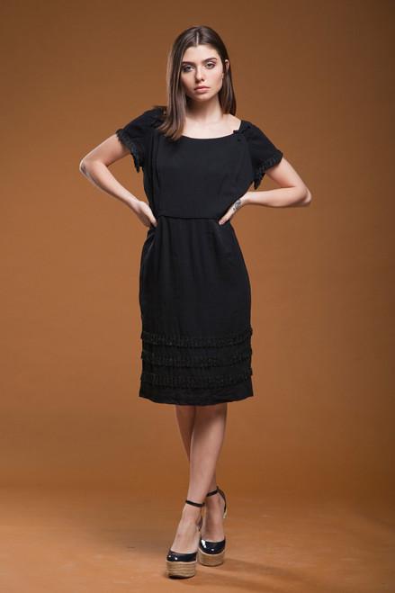 vintage 50s 1950s fringed dress black crepe bow fringe wiggle LARGE L