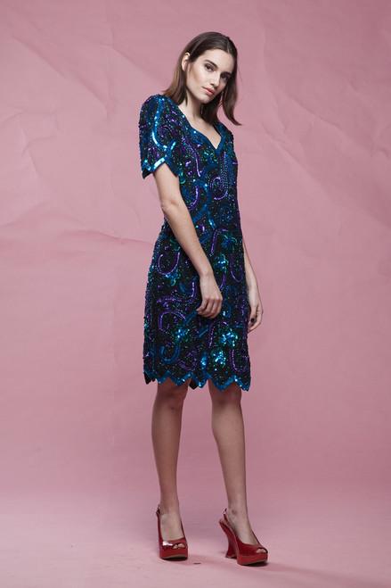 sequinned dress, pointy hem, party cocktail blue purple black short sleeves vintage 80s MEDIUM M