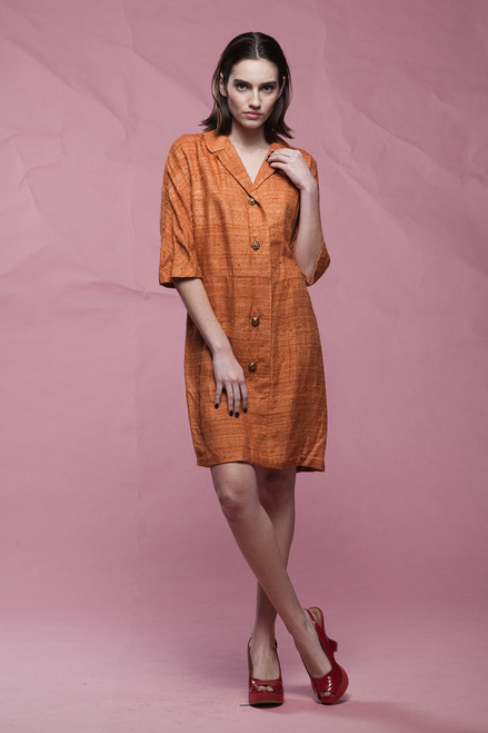 shirtdress LARGE, rust brown textured short sleeves vintage 60s LARGE L