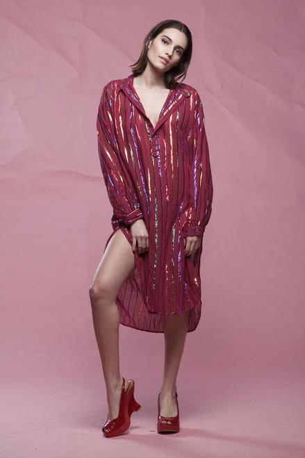 gauze cotton shirt dress oxblood red metallic stripes long sleeves vintage 70s EXTRA LARGE plus size XL 1X