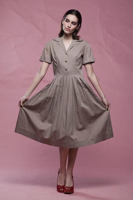 50s shirtwaist dress khaki brown cotton pleated skirt short sleeves boxer dog buttons vintage 50s MEDIUM LARGE M L