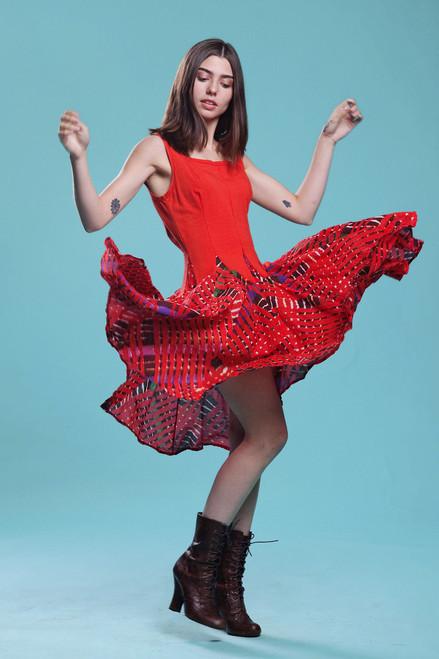 batik tie dye print cotton dress true red sleeveless square neck MEDIUM M