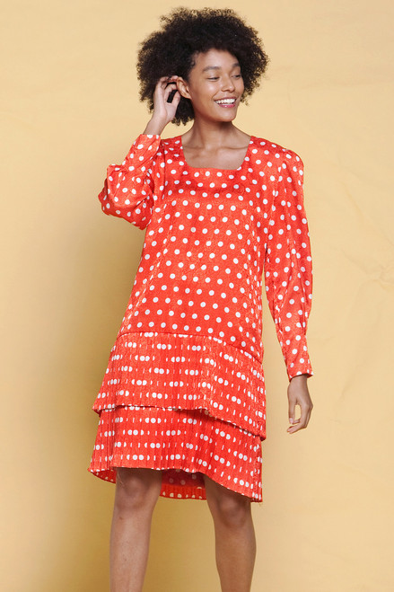 polka dot dress drop waist pleated tiered red white long sleeves vintage 80s MEDIUM M