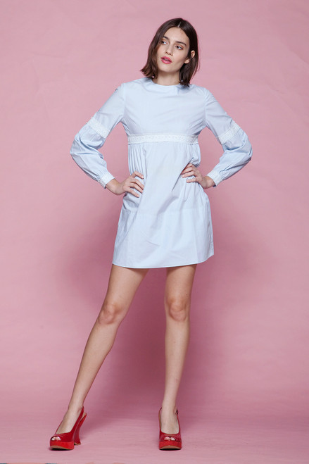 cotton baby doll micro mini dress pale powder blue empire lace trim long sleeves petite vintage 60s EXTRA SMALL - SMALL XS S