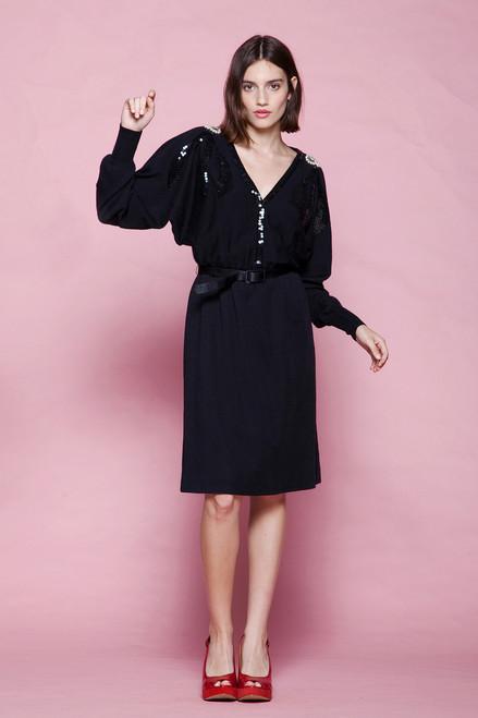 batwing sleeve belted sweater dress black wool sequin rhinestones pearl beads vintage 80s SMALL MEDIUM S M