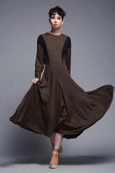 wool knit midi dress long batwing sleeves black brown minimalist vintage 80s MEDIUM LARGE M L