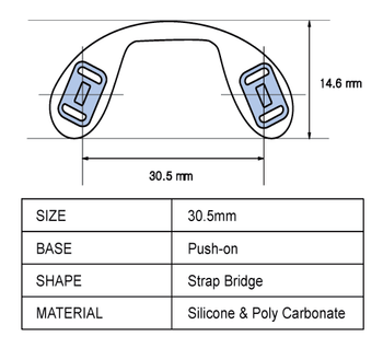 """NP686 Push-On Silicone Saddle Strap Large 6 Pairs (NP686) Push-On Silicone Saddle Strap Large 6 pieces (38.5mm)   Mix-N-Match Specialty Nose Pads and Related items  $9.00 per bag on 2 to 4 bags, $8.50 on 5 to 9 bags and $8.00 on 10+ bags  Final price determined by """"Shopping Cart Total"""" of """"Specialty Nose Pads"""""""