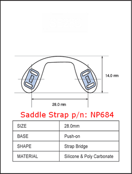 Push-On Silicone Saddle Strap Medium Sold In 6 piece bag