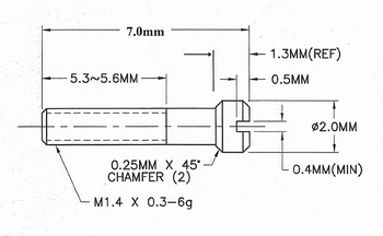 SM853 Hinge Repair Screw; 1.4mm Thread, 2.0 Head, 7.0 Length (SM853)