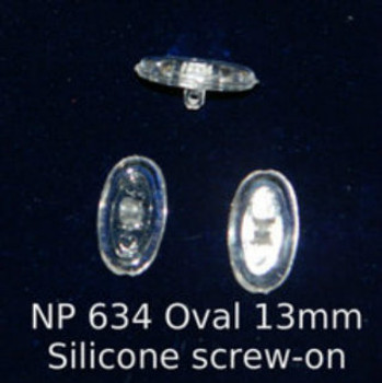 """Screw-On Oval  Silicone Nosepads Symmetrical Soft 13mm 25 Pairs   Mix-N-Match Nose pads pricing on 25 pair bags $7.25 per bag on 4 to 15 bags, $6.19 on 16 -39 bags and $5.50 on 40+ that equals  $100 pairs for $29 or 400 pair at $99 Final price determined by """"Shopping Cart Total"""" of """"Premium Nose Pads"""""""