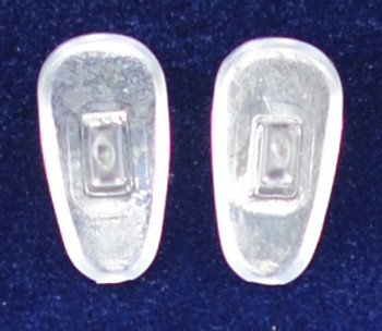 """Push-On PVC poly vinyl chloride Semi-Soft """"Tear Drop"""" Shape 15mm in 25 pairs in bag, Please note the size on this pad can vary from 15mm+   Mix-N-Match Nose pads pricing on 25 pair bags  $7.25 per bag on 4 to 15 bags, $6.19 on 16 -39 bags and $5.50 on 40+ that equals  $100 pairs for $29 or 400 pair at $99  Final price determined by """"Shopping Cart Total"""" of """"Premium Nose Pads"""""""
