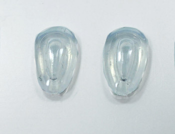 """Air Pillow nose pads Premium grade soft silicone """"Mono pad"""" mount nose pads size about 12mm long by 5mm wide and 2mm think Shape is Teardrop fit either side. The mount is formed metal that the nose pad is inserted into.  This nose pad is solid silicone, there is no hard insert.  Packaged and sold 10 pair bags."""