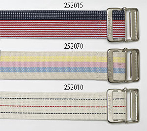 "Cotton Gait Belt, 60"", Heavy-Duty Webbing, Metal Buckle - Pastel Stripes"