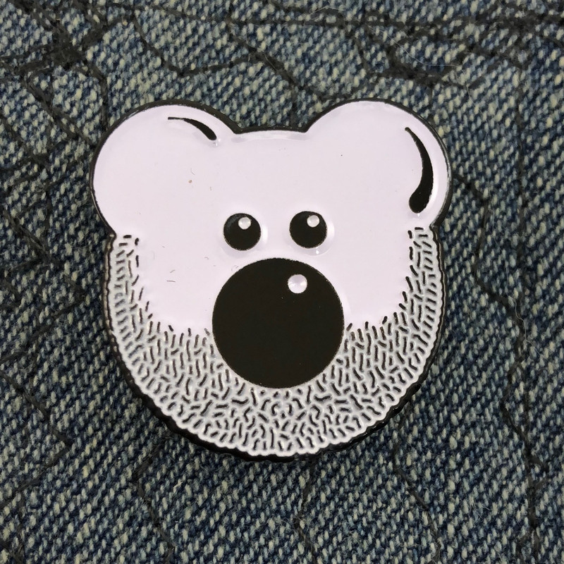 Beardy Bear Enamel Pin