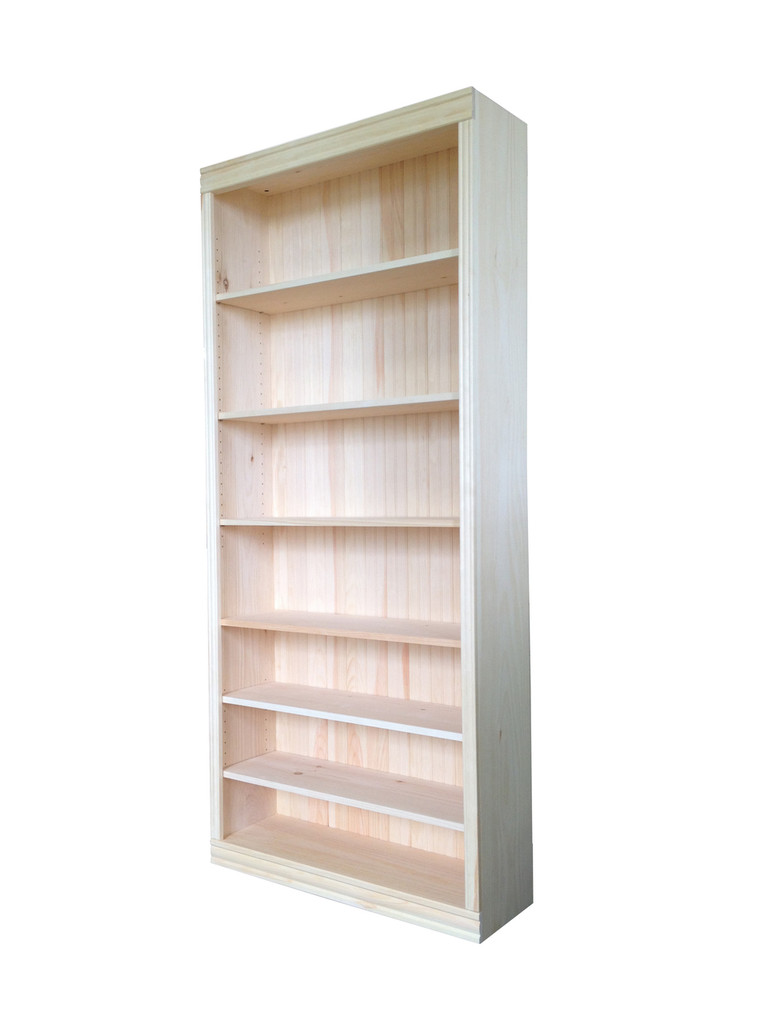 """Unfinished Pine Bookcase 82""""H"""