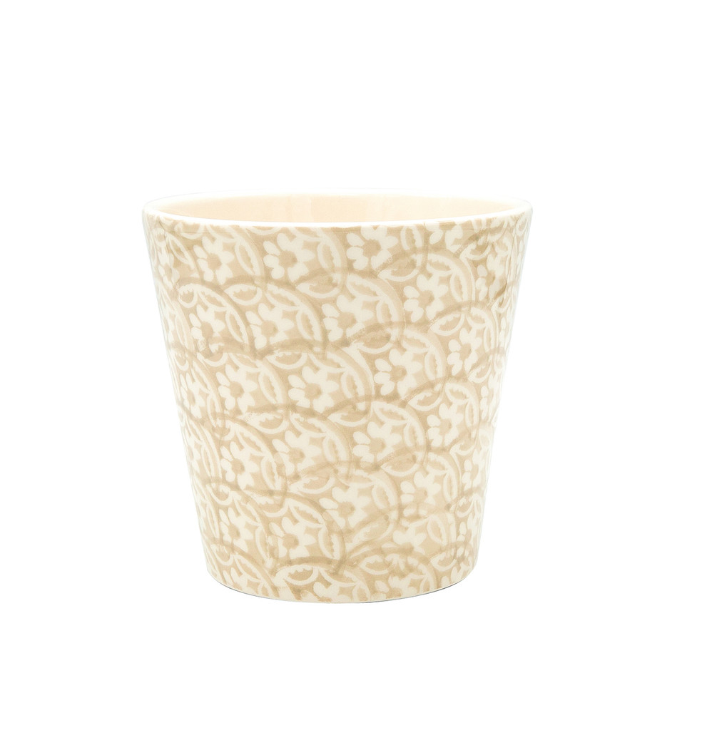Chloe Floral Accent Planter in Beige