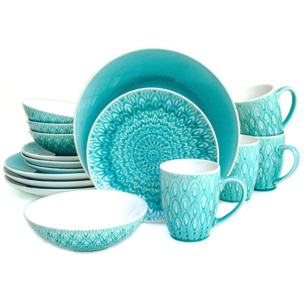 Peacock 16 Piece Crackle-Glaze Dinnerware Set, Service for 4