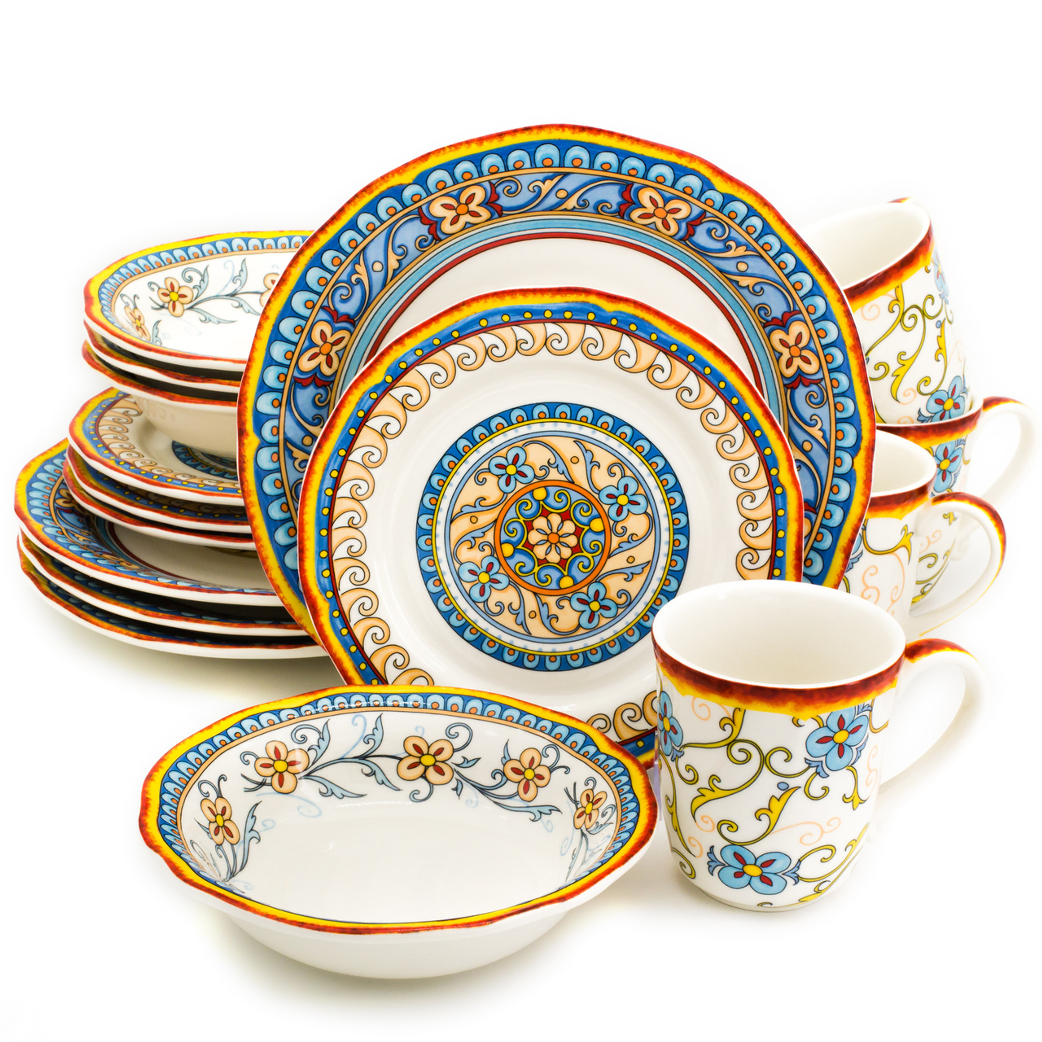 Duomo 16 Piece Dinnerware Set Service for 4  sc 1 st  Euro Ceramica : 16 piece dinnerware sets - pezcame.com