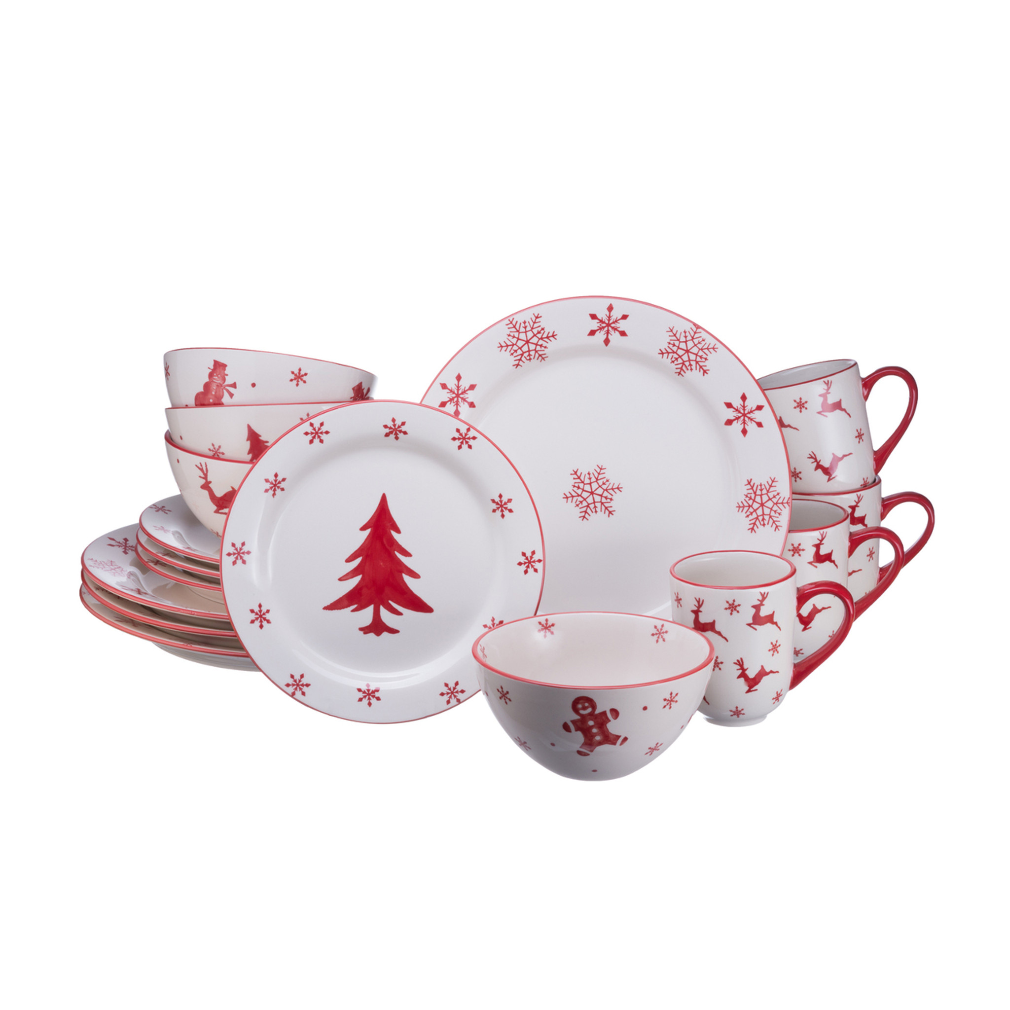 Winterfest 16 Piece Dinnerware Set Service for 4  sc 1 st  Euro Ceramica : dinnerware 16 piece - pezcame.com