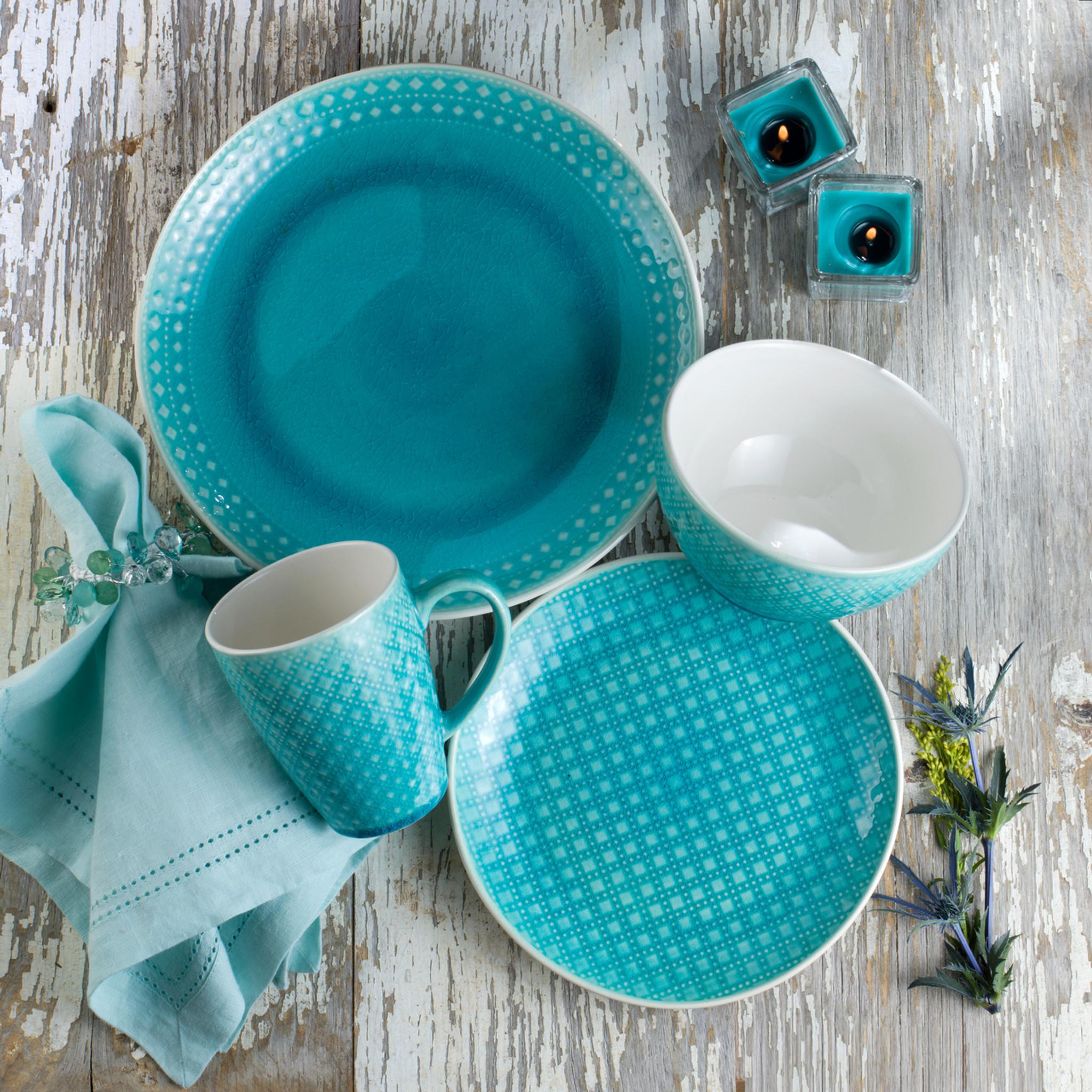 Palma 16 Piece Crackle-Glaze Dinnerware Set Service for 4 & Palma 16 Piece Crackle-Glaze Dinnerware Set Service for 4 - Euro ...