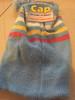 Kids Stripe Beanie With Pom Pom blue