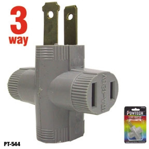 Powtech 3-Way Household Outlet Splitter Adapter, Make ONE outlet into THREE, PT544