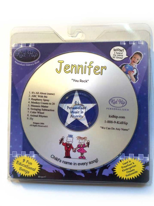 KID HIP Personalized Name (Jennifer) CD- Hear Your Child's Name 50x In The Music