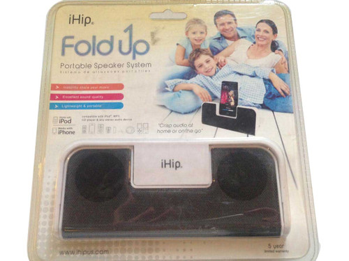 iHip Fold Up Portable Speaker System WHITE iPhone4/4s/nano/shuffle/iPod original