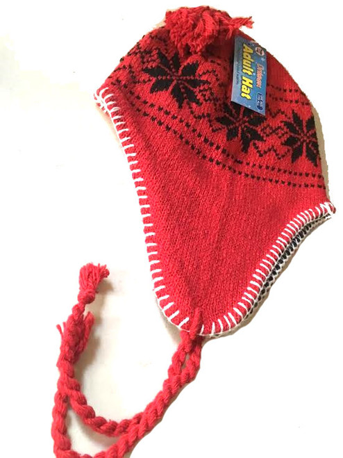 Ladies/Men Unisex Adult Hat RED Snowflake Peru Design