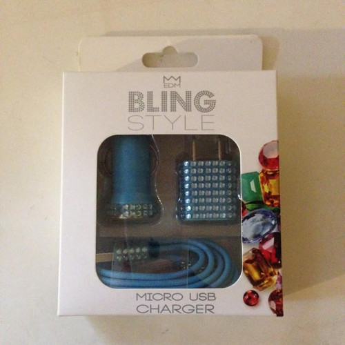 EDM Bling Style Micro USB Charger Lightning Cable BLUE