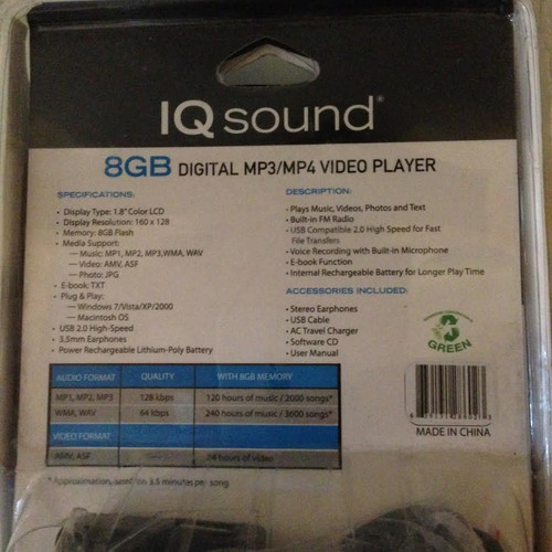 IQ Sound 8gb MP3/MP4