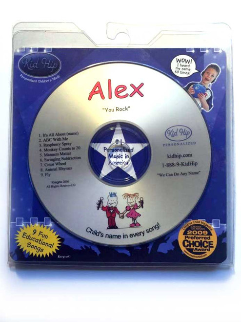 KID HIP Personalized Name (Alex) CD- Hear Your Child's Name 50x In The Music