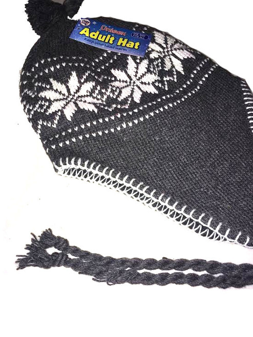 Ladies/Men Unisex Adult Hat GRAY Snowflake Peru Design