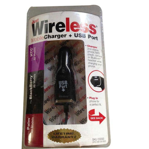 Just Wireless Mobile Charger & USB Port - PALM/BLACKBERRY/HTC MODELS