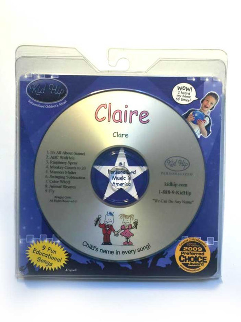 KID HIP Personalized Name (Claire) CD- Hear Your Child's Name 50x In The Music