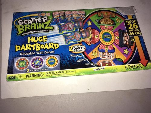 Scatter Brainz Huge Dartboard - Reusable Wall Decal! Ultra Darts Included