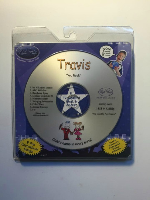 KID HIP Personalized Name (Travis) CD- Hear Your Child's Name 50x In The Music
