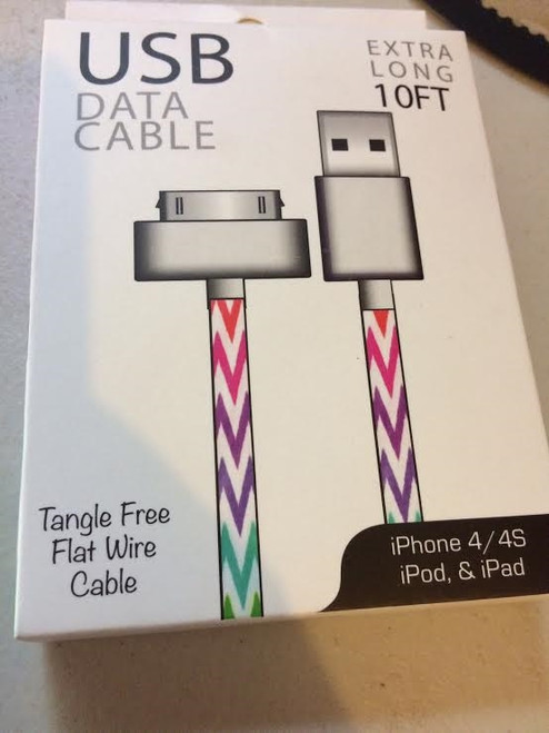 iPhone 4 USB 10ft 30 Pin Charging Cable STRIPES