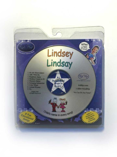 KID HIP Personalized Name (Lindsey-Lindsay) CD- Hear Your Child's Name 50x In The Music