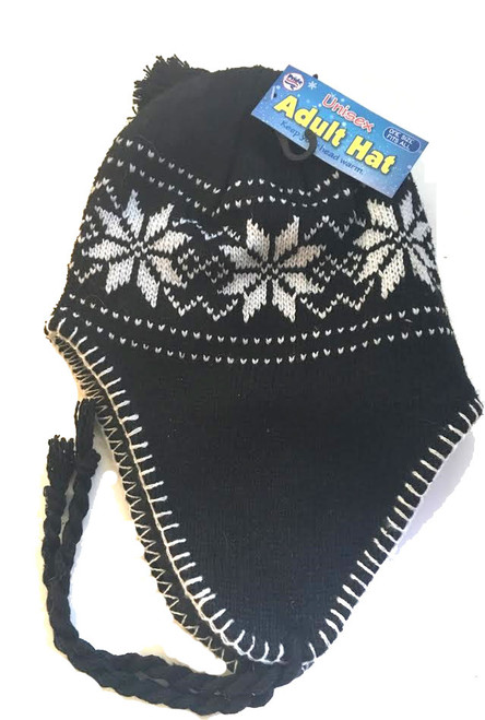 Ladies/Men Unisex Adult Hat Black Snowflake Peru Design