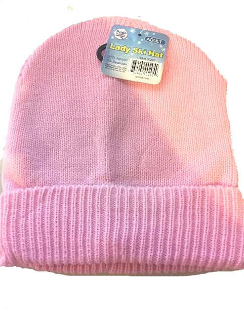 Ladies/Men Unisex Ski Beanie Pink