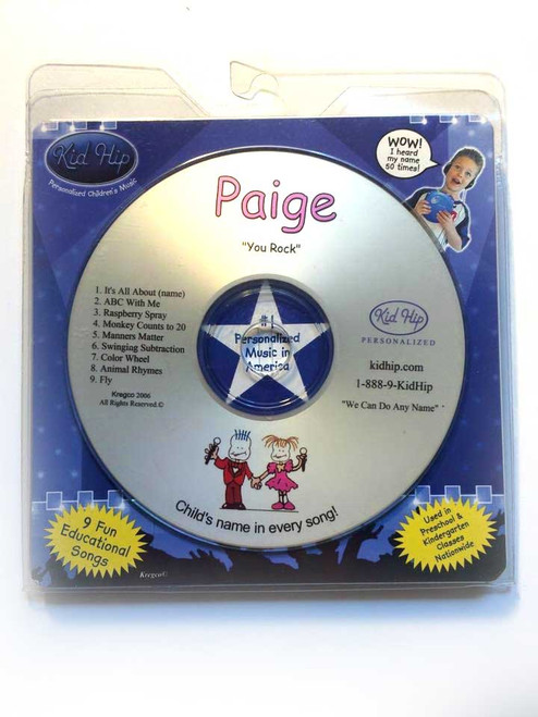 KID HIP Personalized Name (Paige) CD- Hear Your Child's Name 50x In The Music